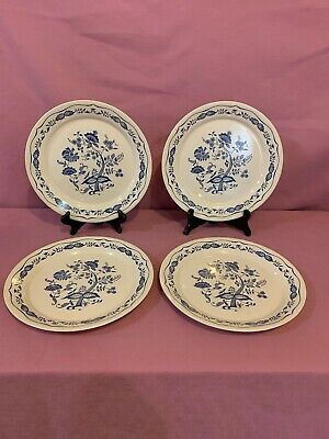 "4 Vintage Corelle Corning Cream 10.25"" Dinner Plates in Blue Danube Onion 2"