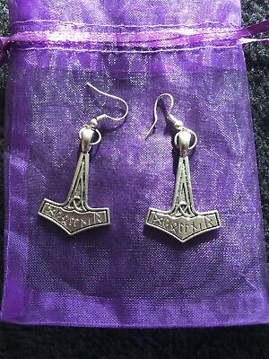 Dangle Drop Wicca Pagan Boho Chic Thor's Hammer Earrings