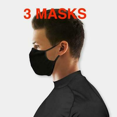 3 X Washable Black Face Mask Reusable Unisex  2 layer Adjustable Mesh Ear Loop