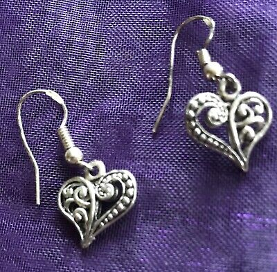 Dangle Drop Wicca Pagan Boho Chic Tree Of Life Heart Earrings, Gift Boxed