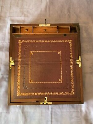 Large Victorian Writing Slope/ Box With Secret Drawers And Working Lock & Key