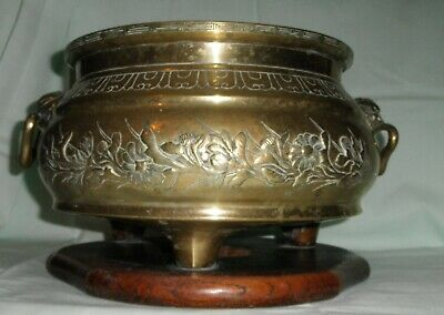 Good Large Chinese Bronze Open Censer On Stand