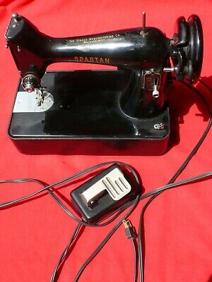 Vintage Table Top Model SINGER SPARTAN Electric SEWING MACHINE w Foot Pedal