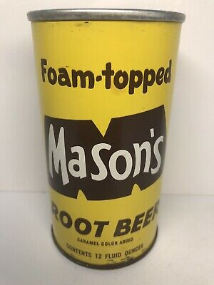 Foam-Topped Mason's Root Beer Tab Top Soda Can - Chicago, Illinois