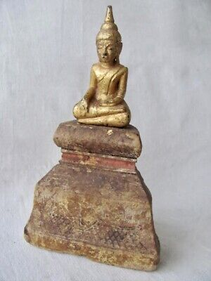 Antique Thai / Southeast Asian Seated Wood Buddha Figure from Thailand