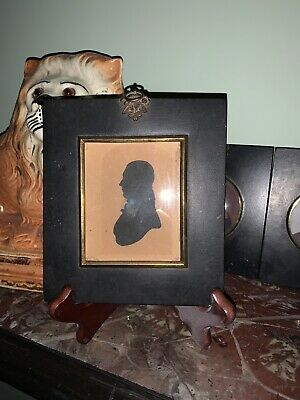 Early Victorian Silhouette Of A Gent In Original Antique Ebonised Frame 1838