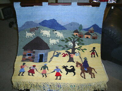 Handwoven Mohair / Wool Tapestry made in Lesotho Africa ~~ includes hanging rod