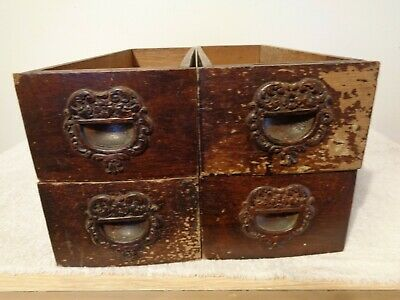 Lot of 4 Antique Sewing Machine Wood Drawers Ornate Vintage