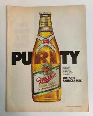 1986 Miller High Life Beer Bottle Purity Magazine Print Ad Champagne of Beers