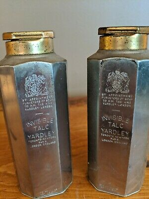 """2 antique 5"""" Tall Yardley of London English Invisible Talc in Tin w/ Closing Lid"""