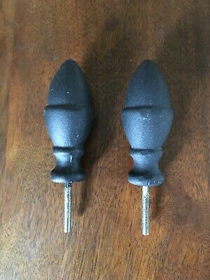 finials, black coated metal pair, screw on, acorn shaped, solar street lamp, two