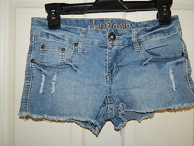 WALLFLOWER juniors girls Blue Distressed Denim SHORTS* 3