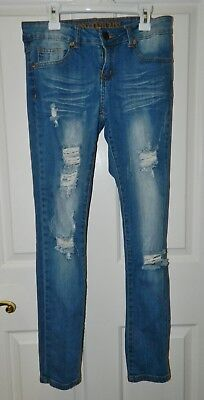 VIP JEANS juniors girls Blue Denim Distressed Destroyed Skinny JEANS* 3 4