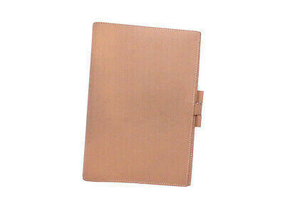 Authentic HERMES Circle Z (1996) Agenda/Note Cover Light Brown Leather - e44971e