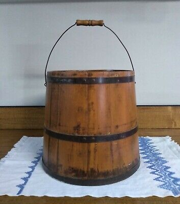 Early Antique 1800's Oak Staved Shaker Wooden Bucket Pail with Bail Handle
