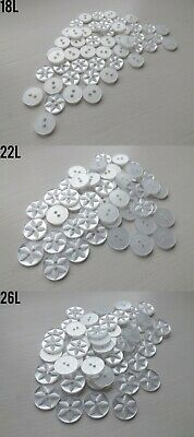 White Baby Star Buttons - Assorted Sizes - Packs Of 25, 50 Or 100