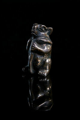Beautiful Miniature solid silver Chinese Ojime bead of a rat. Art, Gift.
