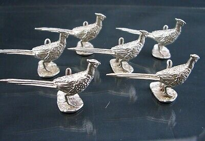 STERLING Silver PLACE CARD HOLDERS - PHEASANTS  - 6pcs - 2oz  - UK Hallmarked