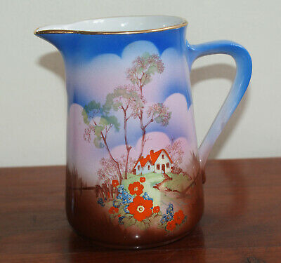 Vintage Sylvac The Old Cottage Semi Porcelain Blue Jug
