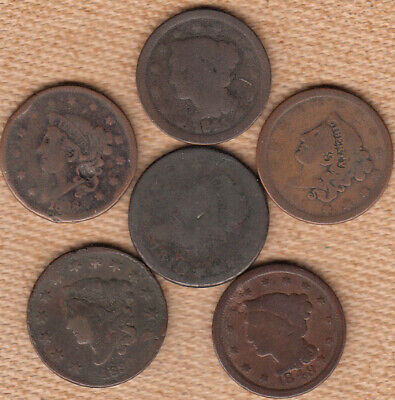 (6) Wounded Large Cents w/1810