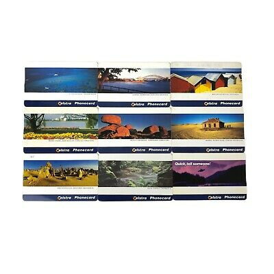 Collectible 9 x Vintage TELSTRA Phonecard Mixed Used $5 / $10/ $20 Card Set