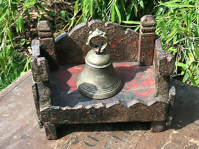 Antique Small Vintage Indian Sacred Hindu Homemade Wooden Shrine Altar Temple