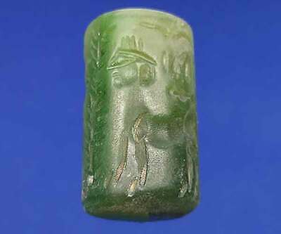 Agate Green Stone Intaglio Sphinx & Animal Rolling Stamp Seal Tube Bead BCB17