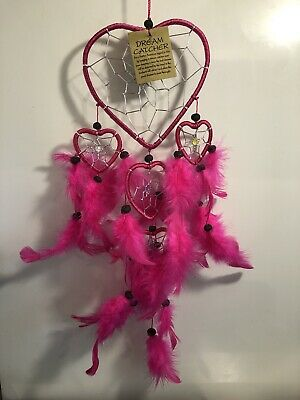 Heart Dream Catcher Wood Bead Feathers Hot Pink/Magenta Native American
