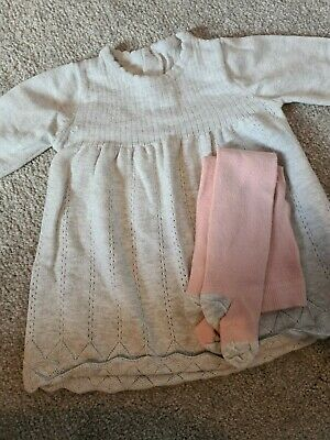 M&S Baby Girls Grey Knitted Dress with tights Age 3-6 Months.
