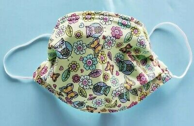 Fabric Face Mask ~ Handmade ~ Adult ~ 100% Cotton ~ Owls, Butterflies, Flowers