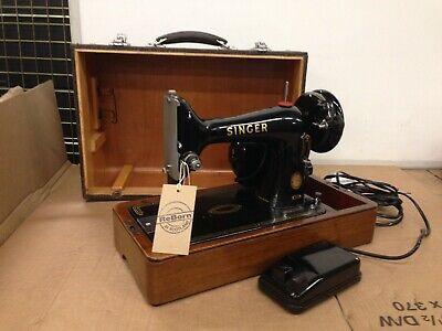 Antique 1955 Singer Sewing Machine 99K with electric motor, in good condition