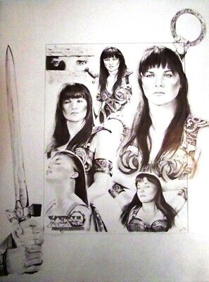 Xena Warrior Princess - Lucy Lawless - Art Print Drawing Poster 18 X 23 - Rare