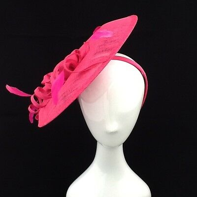 Pink  Sinamay Fascinator With Flower/ Feather Detailing On Headband Code:fpink29