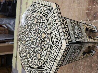 Moroccan Hand Carved Hardwood Inlaid Mother of Pearl Side Table