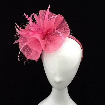 Pink  Sinamay Fascinator With Feather Detailing On Headband Code:fpink30