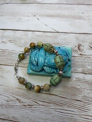 vintage egyptian hand carved stone scarab faience faceted agate beads bracelet