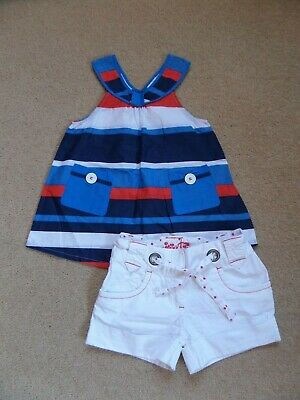 BEAUTIFUL Girl's NEXT Outfit Age 7 Top & Shorts VGC Nautical Inspired
