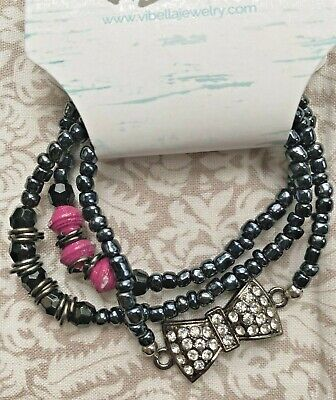 ViBella Handmade Beaded 3 Bracelet Set Black Paper Pink Beads Rhinestone Bow NEW