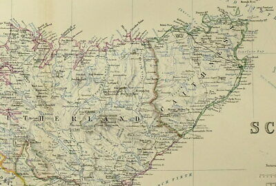 1861 Hand Coloured Map ~ Scotland North ~ Sutherland Caithness Ross Aberdeen