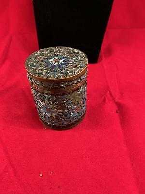 "Vintage Cloisonne Cigarette Box 3"" tall"