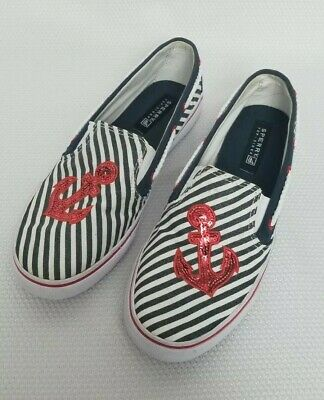 Sperry Top Sider Girls Size 4.5 Red White Blue Striped Anchor Sequin Shoes NWOB