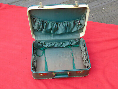 Vintage SUITCASE CHAS.W.WOLF NY LUGGAGE GREEN/WHITE TRAVEL STURDY BEAUTY vg cond