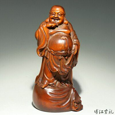 Collectable China Old Boxwood Hand-Carved Happy Buddha Moral Bring Luck Statue