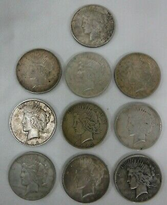 Lot of Ten 1923 P Mint Mark Peace Silver Dollars Circulated Condition No Reserve
