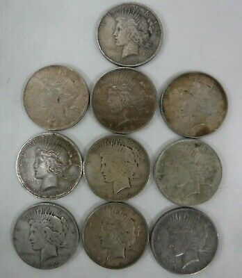 Lot of Ten 1922-1926 Peace Silver Dollars Circulated Condition No Reserve