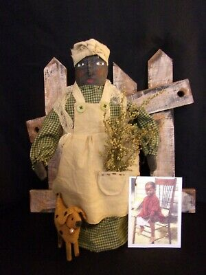 Primitive black folk art mammy doll,10 in, original,  by Dumplinragamuffin