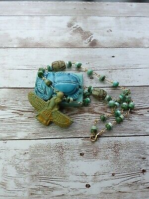 Antique egyptian isis goddess faience scarab blue green turquoise bead necklace