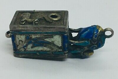 Chinese Antique Sterling Silver Blue Enamel Frog Animal Small Box