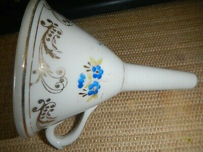 Vintage Hand Painted English Porcelain FUNNEL With Floral and Gold Decoration