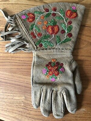 Native American Indian Leather Suede Glass Beaded Flower Design Gauntlet Gloves